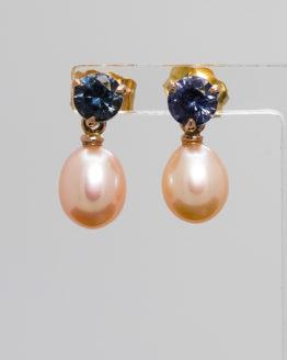 Boucles d'oreilles or perles et spinelles