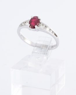 Bague or rubis diamants