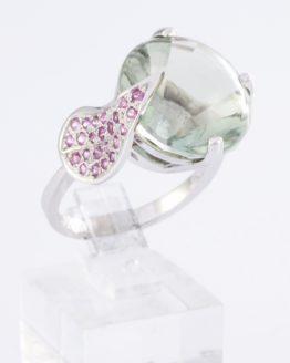 Bague or saphirs quartz